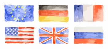Banderas de la acuarela fijadas ilustración del vector