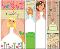 Banderas de la boda en diversos colores Imagen de archivo libre de regalías