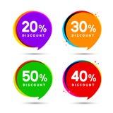 Banderas de la burbuja de la venta del precio de descuento Etiqueta de los precios Diseño plano de la muestra de la promoción de  stock de ilustración