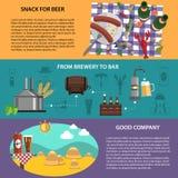 Banderas de la cerveza fijadas stock de ilustración
