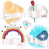 Banderas de la cinta con los elementos decorativos ilustración del vector