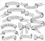 Banderas de la cinta del vintage, sistema dibujado mano Fotografía de archivo libre de regalías