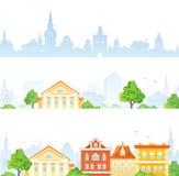 Banderas de la ciudad de la historieta ilustración del vector