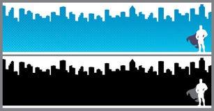 Banderas de la ciudad del super h?roe imagenes de archivo