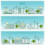 Banderas de la ciudad de la ecología Vector la plantilla con la línea fina iconos de la tecnología del eco, continuidad del ambie stock de ilustración