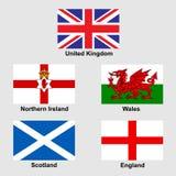 Banderas de la colección de Reino Unido Foto de archivo libre de regalías