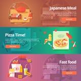Banderas de la comida y de la cocina fijadas Ejemplos planos en el tema del sushi japonés Imagenes de archivo