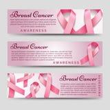 Banderas de la conciencia del cáncer de pecho stock de ilustración