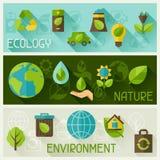 Banderas de la ecología con los iconos del ambiente Imágenes de archivo libres de regalías