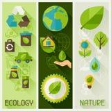 Banderas de la ecología con los iconos del ambiente Foto de archivo libre de regalías