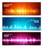 Banderas de la exhibición de las ondas acústicas del equalizador fijadas Imágenes de archivo libres de regalías