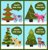 Banderas de la Feliz Año Nuevo con el sistema punteado del árbol del perrito Imagen de archivo libre de regalías