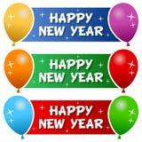 Banderas de la Feliz Año Nuevo con los globos ilustración del vector