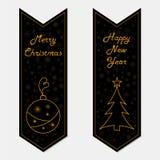 Banderas de la Feliz Navidad y de la Feliz Año Nuevo en estilo retro Foto de archivo libre de regalías