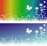 Banderas de la flor y de la mariposa Foto de archivo libre de regalías