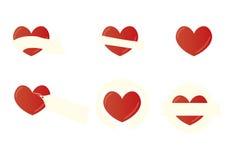 Banderas de la forma del corazón Fotos de archivo