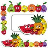 Banderas de la fruta de la historieta ilustración del vector