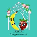 Banderas de la fruta y de la baya del vector los dulces y los pasteles llenaron de la fruta, menú del postre, productos de la ate stock de ilustración