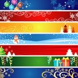 Banderas de la Navidad con el espacio para su texto Fotografía de archivo