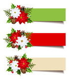 Banderas de la Navidad con las ramas, el acebo, la poinsetia y los conos del abeto Vector EPS-10 Fotografía de archivo
