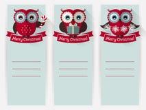 Banderas de la Navidad con los búhos y espacio para el texto Sistema del vector stock de ilustración
