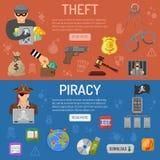 Banderas de la piratería y del hurto Fotos de archivo