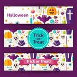 Banderas de la plantilla del vector del truco o de la invitación de Halloween fijadas en F moderna Fotos de archivo libres de regalías