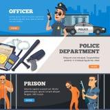 Banderas de la policía Situación urbana del oficial de las Policías de Seguridad en la prisión uniforme y el supervisor con diseñ stock de ilustración