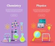 Banderas de la química y de la ciencia de la física Vector ilustración del vector