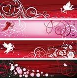 Banderas de la tarjeta del día de San Valentín. Foto de archivo libre de regalías
