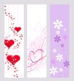 Banderas de la tarjeta del día de San Valentín Fotos de archivo