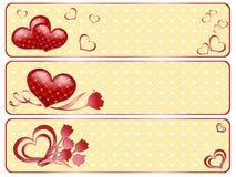 Banderas de la tarjeta del día de San Valentín con los corazones. Imágenes de archivo libres de regalías