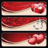 Banderas de la tarjeta del día de San Valentín Fotografía de archivo libre de regalías