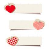 Banderas de la tarjeta del día de San Valentín con los corazones del papel y del trapo Vector EPS-10 Imagen de archivo