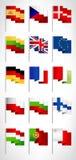 Banderas de la UE fijadas Astas de bandera del estilo de la historieta, sistema 1 Imagenes de archivo