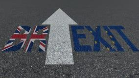 Banderas de la UE de Gran Bretaña de la palabra de Brexit en el camino ilustración del vector
