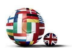 Banderas de la UE sobrepuesto en los fútboles que representan el conflicto ov del eu ilustración del vector
