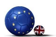 Banderas de la UE sobrepuesto en los fútboles que representan el conflicto ov del eu libre illustration