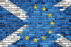 Banderas de la unión europea y de Escocia de la pared de ladrillo libre illustration