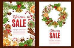 Banderas de la venta de la Navidad fotografía de archivo