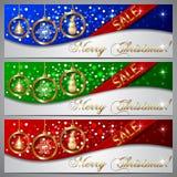 Banderas de la venta de la Navidad del vector Imagen de archivo
