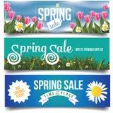 Banderas de la venta de la primavera con los tulipanes y las margaritas libre illustration
