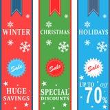 Banderas de la venta de las vacaciones de invierno Fotografía de archivo