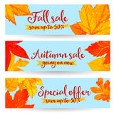 Banderas de la venta del otoño con las hojas de oro y del rojo Fotos de archivo libres de regalías