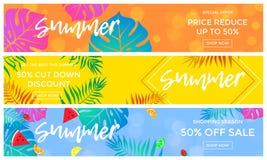 Banderas de la venta del verano de frutas y del aviador en línea de las compras del vector de hoja de palma libre illustration
