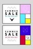 Banderas de la venta del verano Memphis y estilo mondrian Ilustración del vector Formas simples La sección de oro Fotografía de archivo libre de regalías