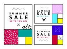 Banderas de la venta del verano Memphis y estilo mondrian Ilustración del vector Formas simples La sección de oro Foto de archivo libre de regalías