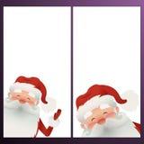 Banderas de la vertical de la Navidad del vector Ejemplo Papá Noel feliz del vector con una barba Foto de archivo