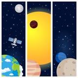 Banderas de la vertical de los planetas de la Sistema Solar stock de ilustración