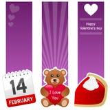 Banderas de la vertical del día de la tarjeta del día de San Valentín s del santo stock de ilustración